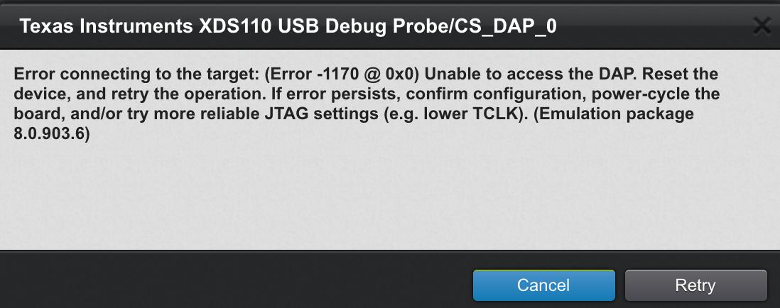 CCS/CC2642R: XDS110 Debug Probe Can't Detect CC2642R1 On