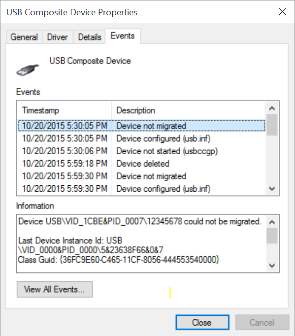 usb_dev_cserial inf drivers do not install under Windows 10