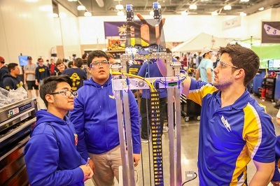 Members of the robotics team at Conrad High School