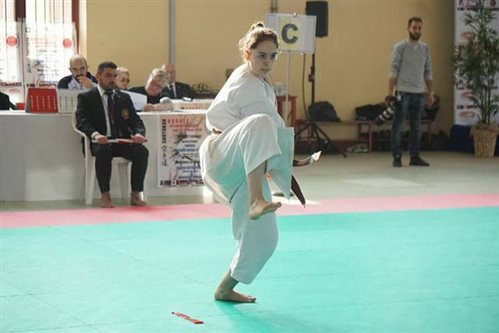 Ulrike participates in a karate competition.