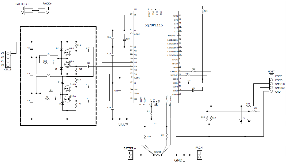 schematic for battery balancing using bq78pl116
