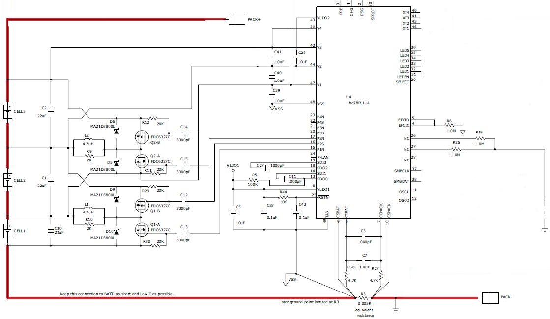 schematic regarding battery balancing using bq78pl114