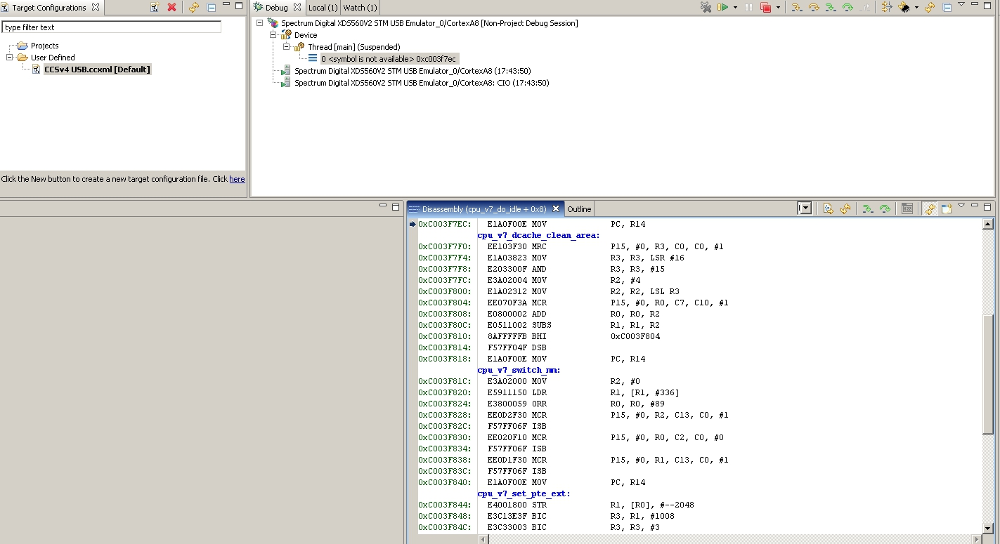 Resolved Trying To Debug Linux Kernel Using Ccs No Symbols Available Code Composer Studio Forum Code Composer Studio Ti E2e Support Forums