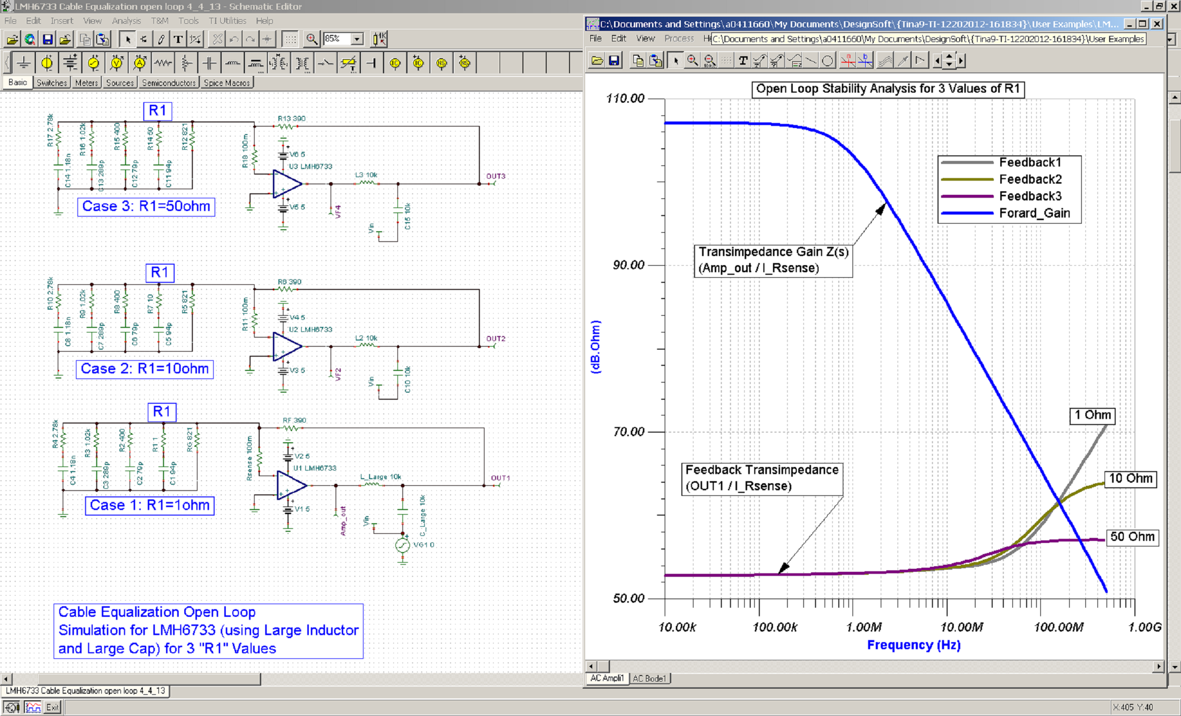 Cable Equalization 101 Simulating The Design And Improving Figure 2 Transimpedance Amplifier Transfer Function 3 Open Loop Gain Feedback Plot Intercept For Three Values Of R1