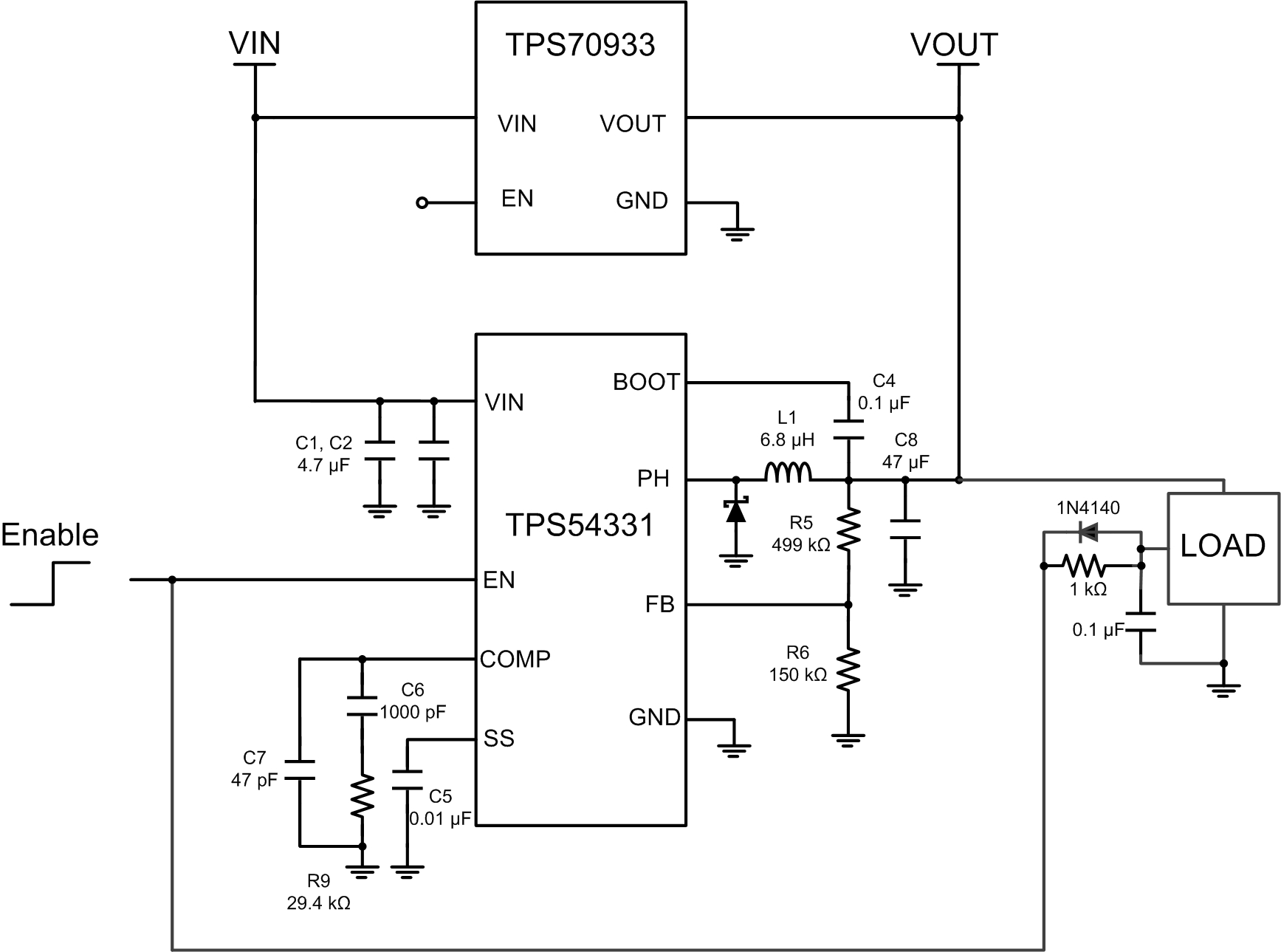 How To Improve Buck Converter Light Load Efficiency With An Ldo Circuit 2313ldo 5f00 Switch Parallel W Enable And