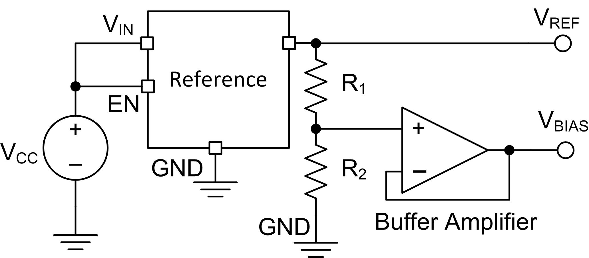 Resistor Divider Drift When 5ppm 5 Ppm Precision Hub Simple Voltage Circuit Figure 1 Depicts A Discrete Solution That Provides Reference Vref And Bias Vbias Based On The Ratio Of R1 R2