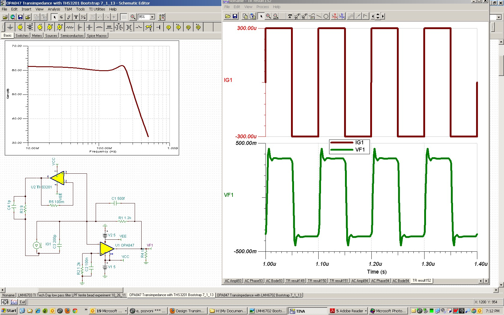 Resolved Design Transimpedance Amplifier With Bootstrap Under Large Current Circuit Electrical The 200pf Diode Assumed Capacitance And Opa847 As Main Simulated 3db Frequency Is Around 200mhz Step Response Has Some