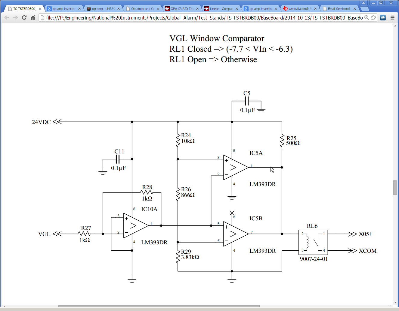 Inverting Op Amp Design Amplifiers Forum Ti E2e Opampinvertingamplifiercircuitpng The Image Above Is My Schematic I Want To Invert Voltage Vglwhich Can Be 77v 63v And Use It Close A Relayrl6 If Within