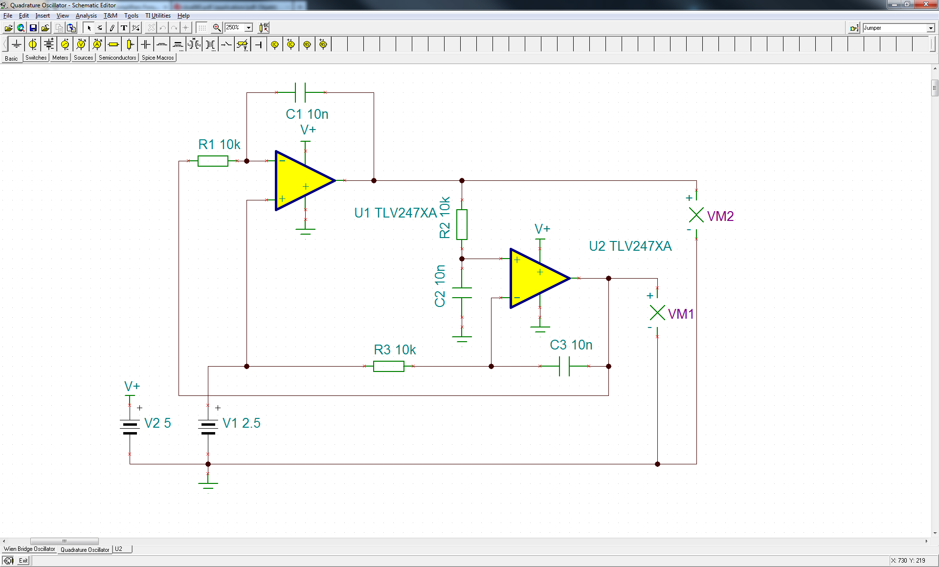 Resolved Quadrature Oscillator With Tlv2474 Amplifiers Forum Highspeed Amplifier Circuits Analog Wire Blogs Ti E2e Community And These Are The Results Of A Transient Simulation