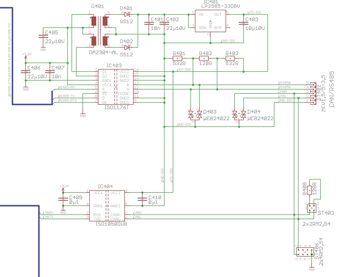 resolved  iso1176t for rs485  modbus   circuit correct