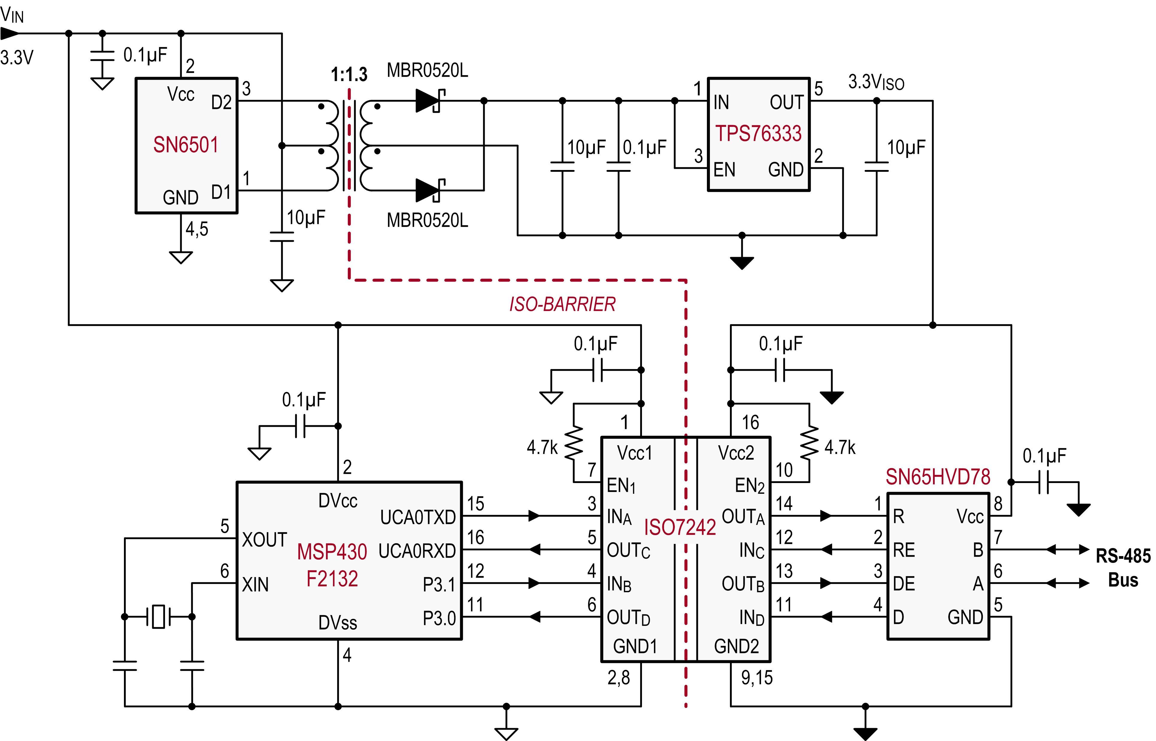 Схема для повторителя интерфейса rs-485