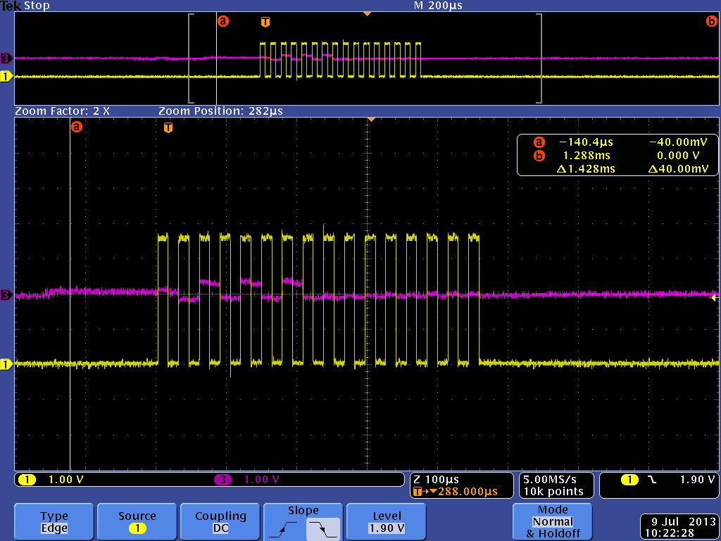 Send and receive SPI msp430F2274