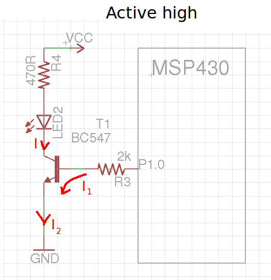 resolved  controlling external led with msp and bc557b transistor