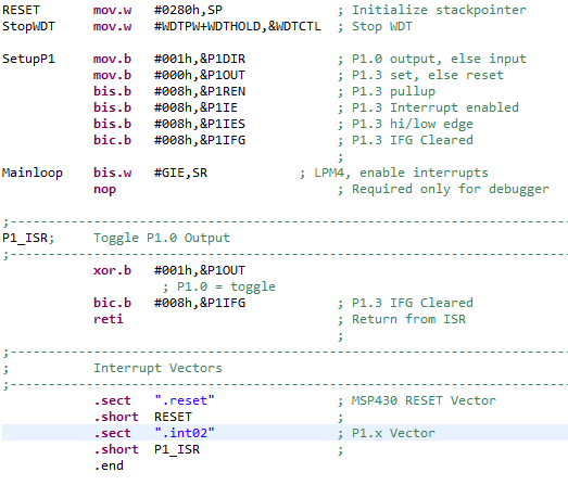 Blinking LED using Interrupts in assembly language - MSP low