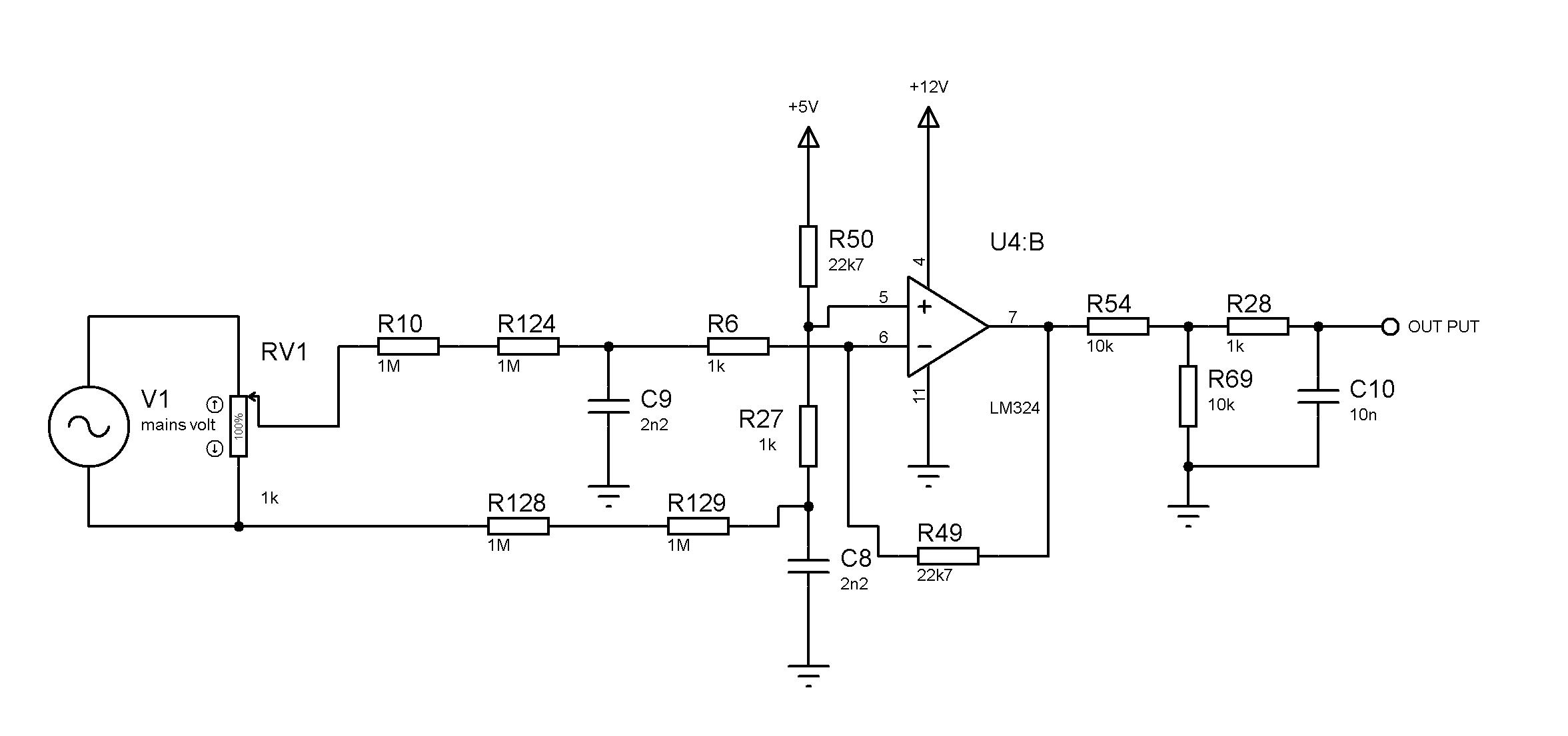 mains volt sensing amplifier problem using lm324 - General ...
