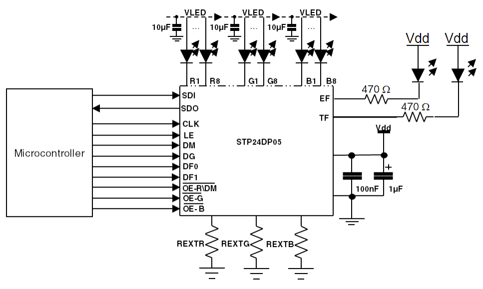capacitors on led supply of tlc5940 drivers