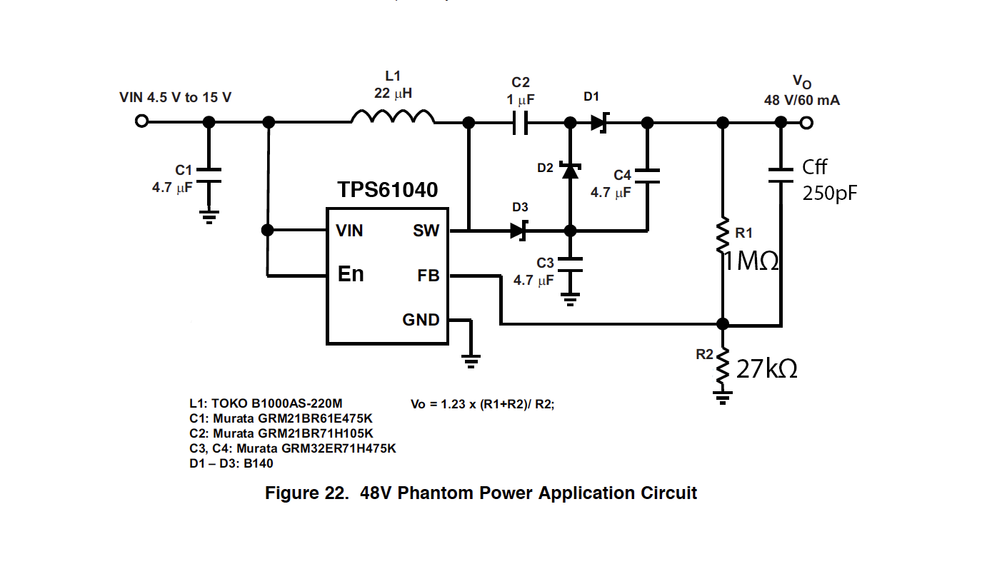 48v Phantom Power Supply Circuit Great Installation Of Wiring Schematic Variable Diagram Resolved Tps61040 For And Voltage Rh E2e Ti Com