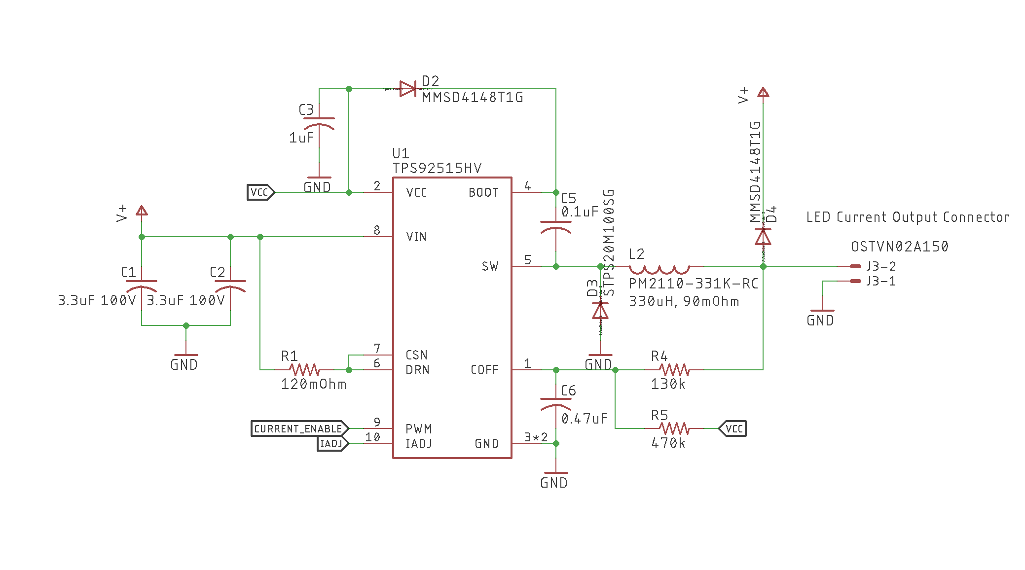 Resolved Tps92515hv Real Circuit Implementation Of Webench Design Schematic Basic Strobe This Is The I Implemented And As Best Can Check With A Multimeter Pins Arent Shorted Together Components Are Correctly Inserted