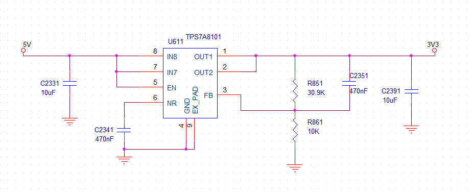 TPS7A8101 output voltage can't be adjusted - Power