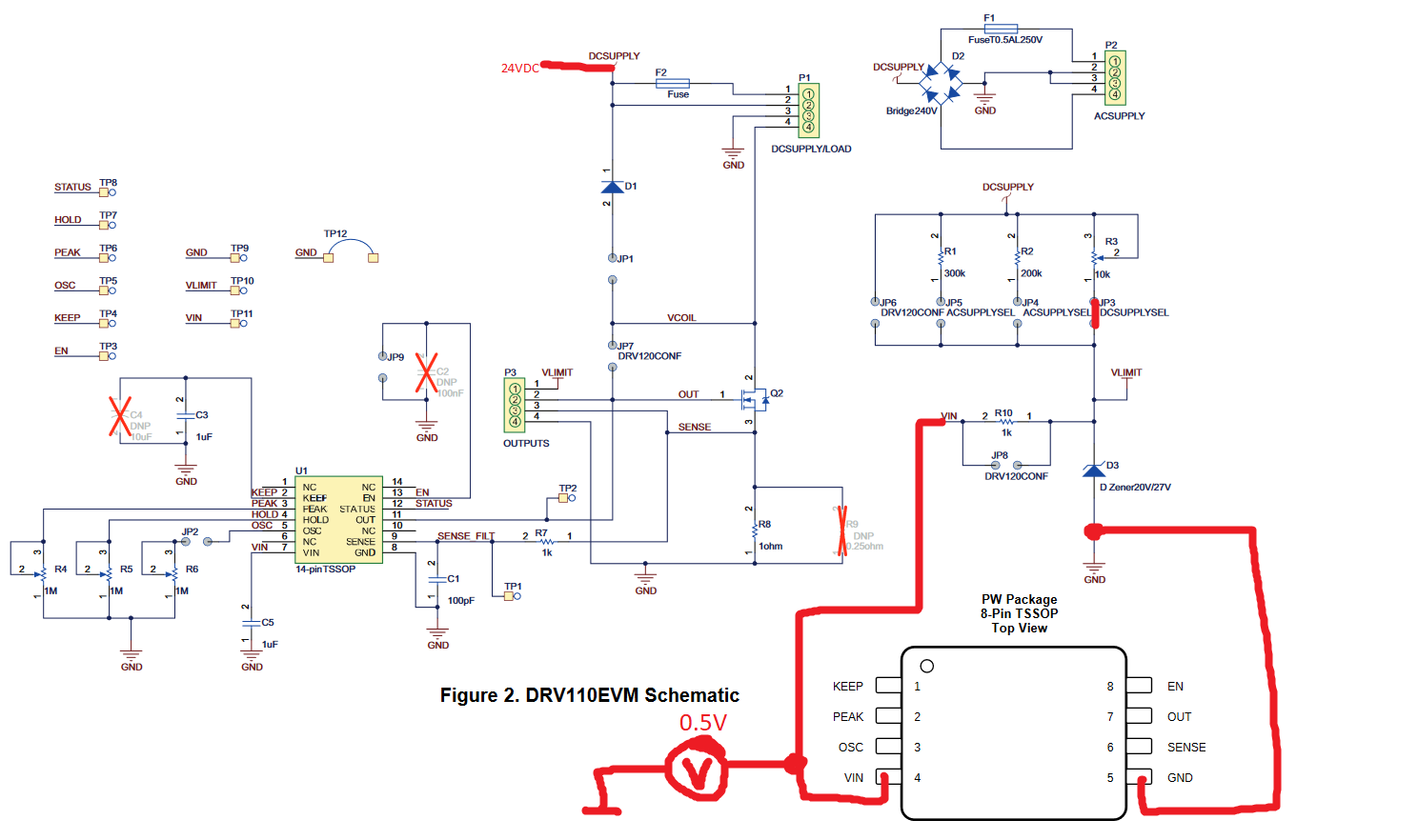 Resolved Drv110 Problems With Input Voltage At 8pin Version Lets Say The Is 20v Output Will Be So What Ive Done Was To Connect 8 Pin Drv Eval Board In Order Give Both Pinner And 14 Same Preconditions