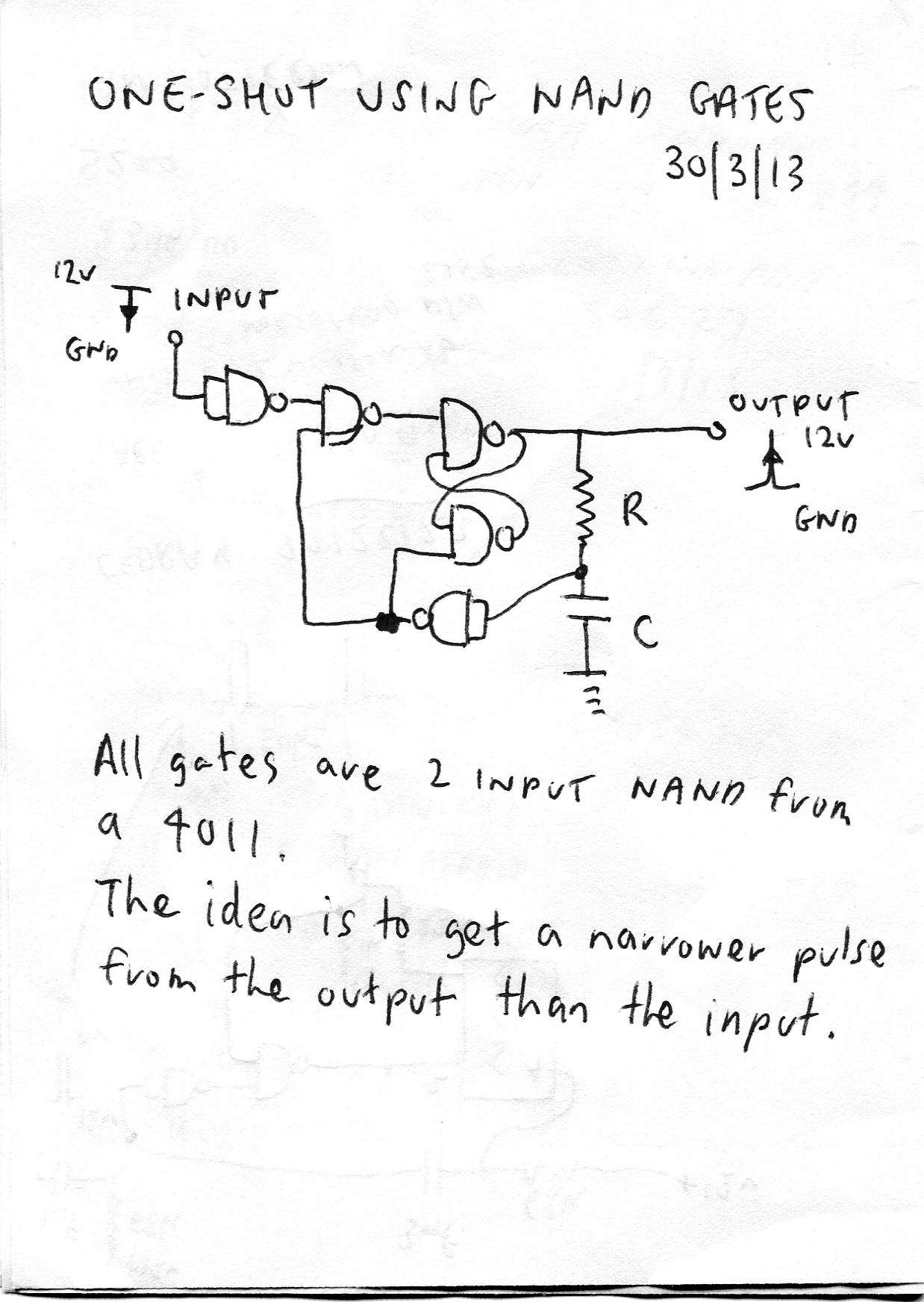 Resolved One Shot Using Nand Gates Logic Forum Ti E2e Diagram Only This Is The Hand Drawn Circuit For Shothope It Helps