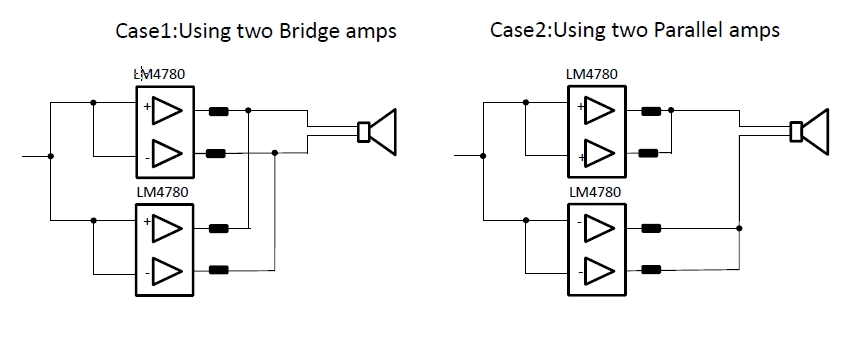 Resolved Lm4780 Bridged Amplifier By Using 4 Amps Audio Forum