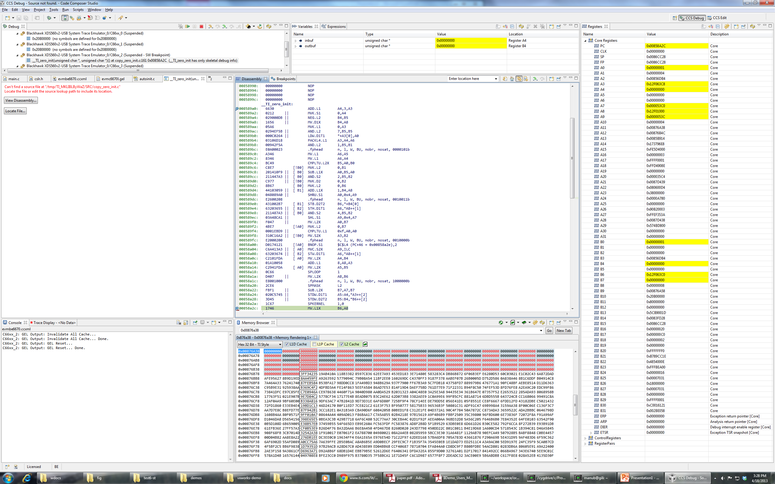 Program load hangs - never reaches symbol main - Processors