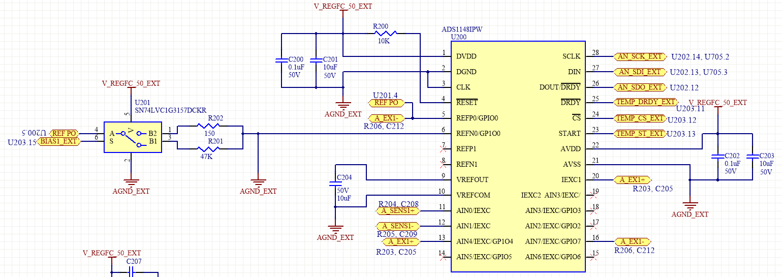 Resolved Ads1148 Circuit Design For 2 3 Or 4 Wire Rtd So With This There Is No Connection From Iexc1 To The Input Measurement Reference A We Must Use External Jumpers