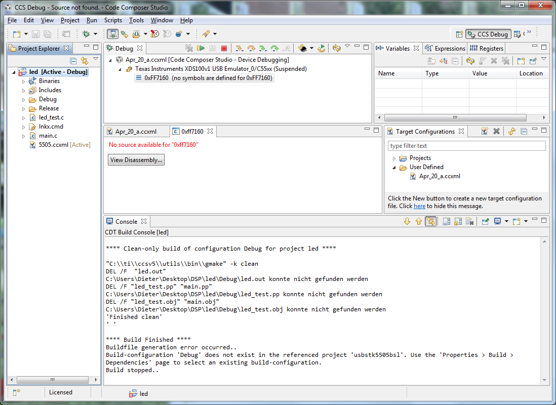 Build-configuration 'Debug' does not exist - Code Composer ... - photo#32