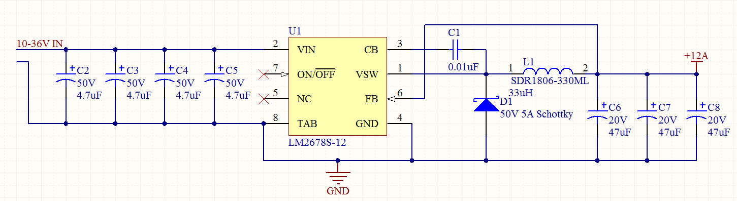 resolved] lm2678 12 voltage drops under load power managementi have designed a circuit using a lm2678 12 that should run 5a, but when i connect even a 700ma load, the output voltage drops to about 9v
