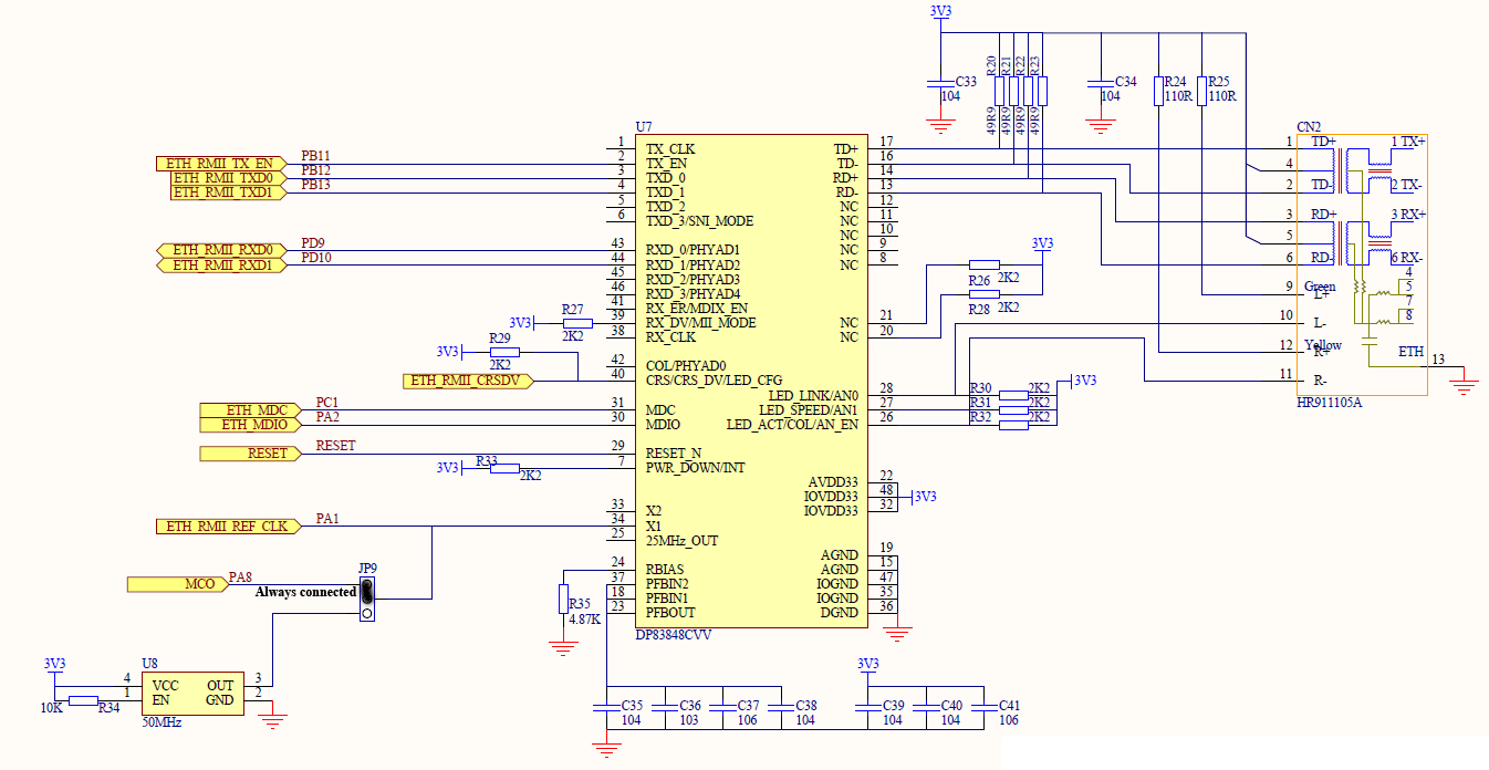Resolved] DP83848 no link with stm32f107 - Interface forum