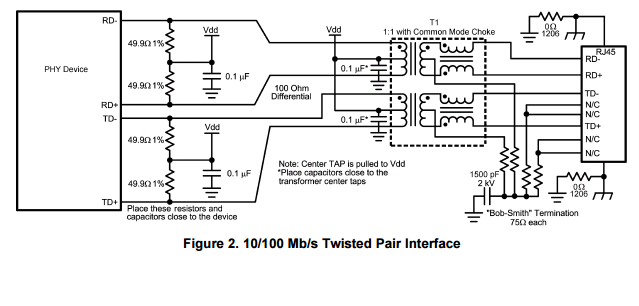 resolved  dp83848k  about external isolation transformer   common mode choke on phy side or