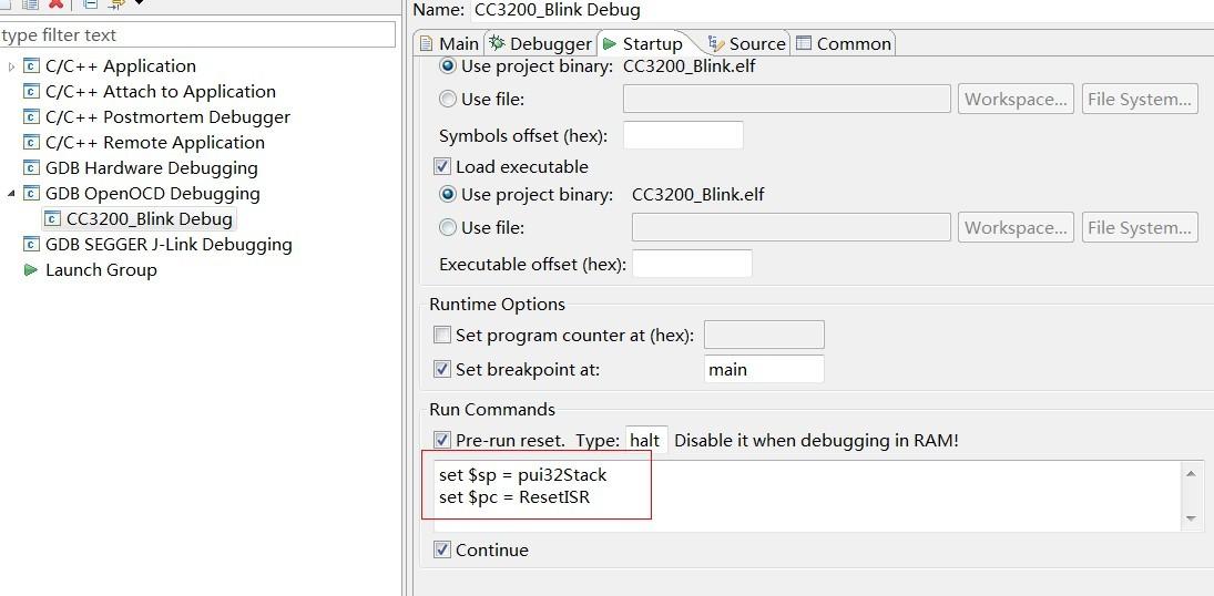 CC3200 Openocd debugging error