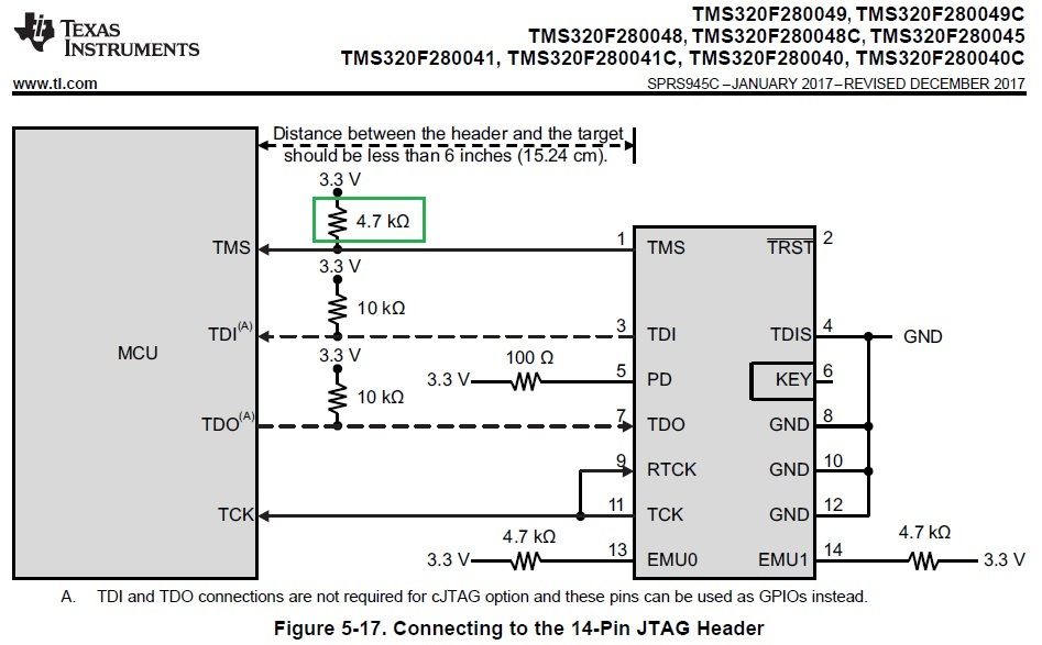 Resolved] TMS320F280045: External pullup at TMS pin using XDS110 ...