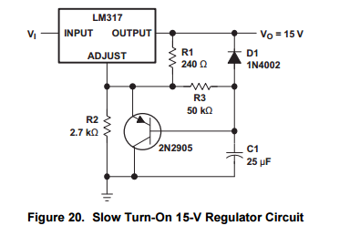 lm317 current issues power management forum power managementthe circuit shown below is from 317n datasheet it\u0027s very effective for slow turn on