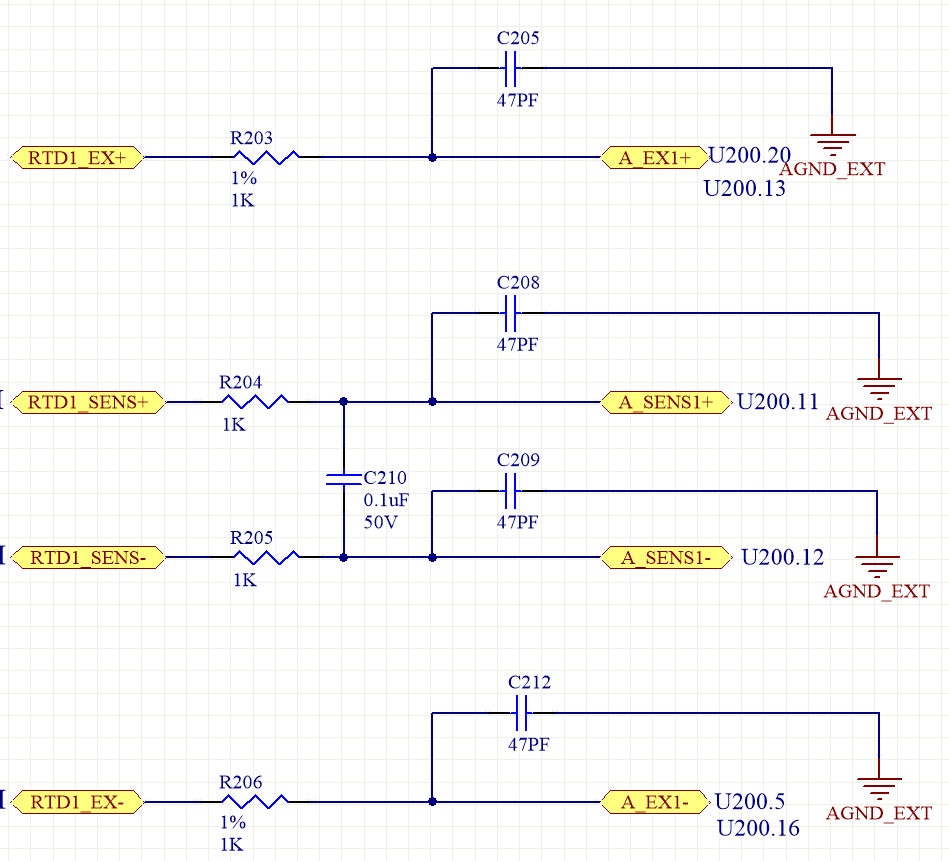 So with this design there is no connection from IEXC1 to the input  measurement or the reference input. So for a 2 wire RTD we must use  external jumpers from ...