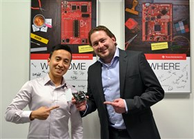 Dennis Eichmann, right, MVP member of TI E2E Community, with TIer Dung Dang