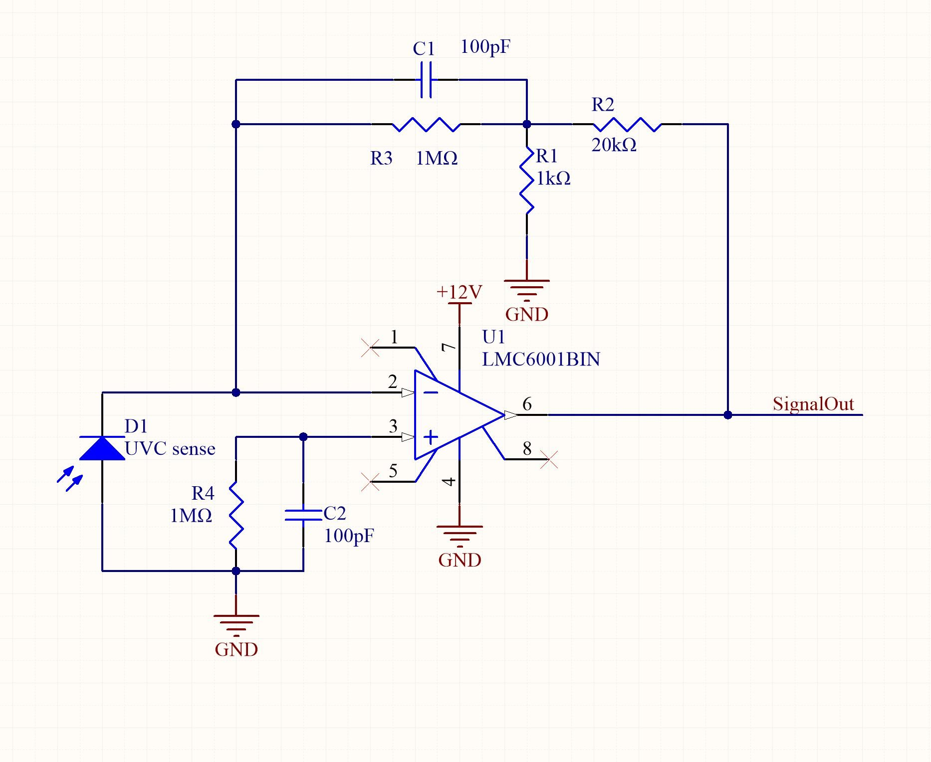 Lmc6001 Why In Is Short Circuit With Gnd How I Broken It Here The Schematic Of My Version And A Picture Am Afriad If Give Such Large Amplification Cause Signal Ip Really Small 06ua Max Current D1 Photodiode