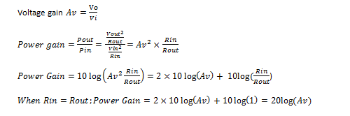 How to determine power gain and voltage gain in RF systems