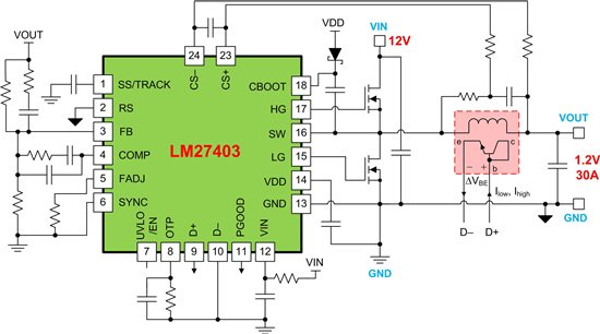 LM27403 buck regulator with temperature-compensated inductor DCR current sensing