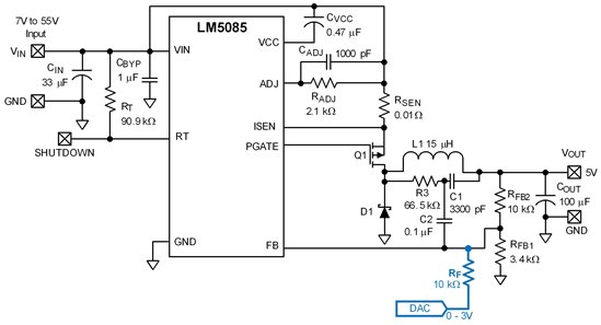how to dynamically control the output voltage with a cot