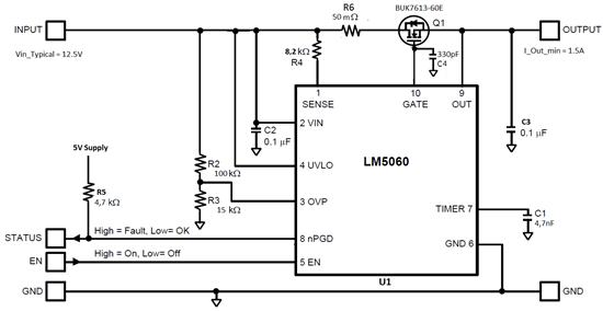 lm5060 does not detect over current during output short