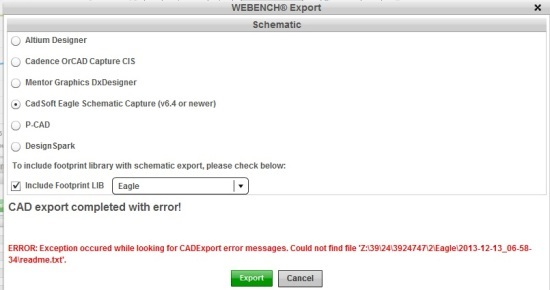 WEBENCH Eagle export error - Power and Lighting Tools Forum ...