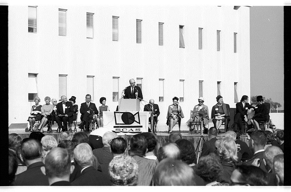 Erik Jonsson speaks at the UTD dedication ceremony for Founders Building on Oct. 29, 1964.